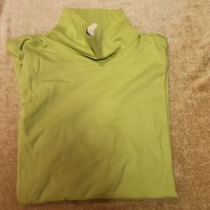 Coldwater Creek Lime Green 100% Cotton 3X TNeck